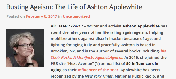 Busting Ageism: The Life of Ashton Applewhite – Women Over 40 podcast